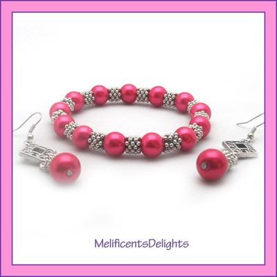 pink pearlised beaded bracelet & earring set - gift boxed - tibetan style  £5.99 free shipping