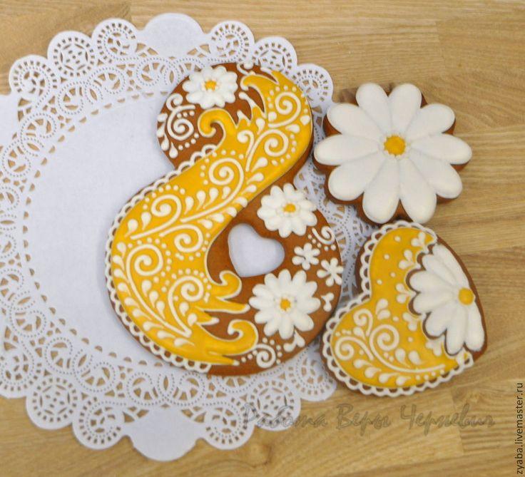 """Купить """"Ромашки"""" - набор пряников на 8 марта - пряник, расписные пряники, имбирное печенье"""