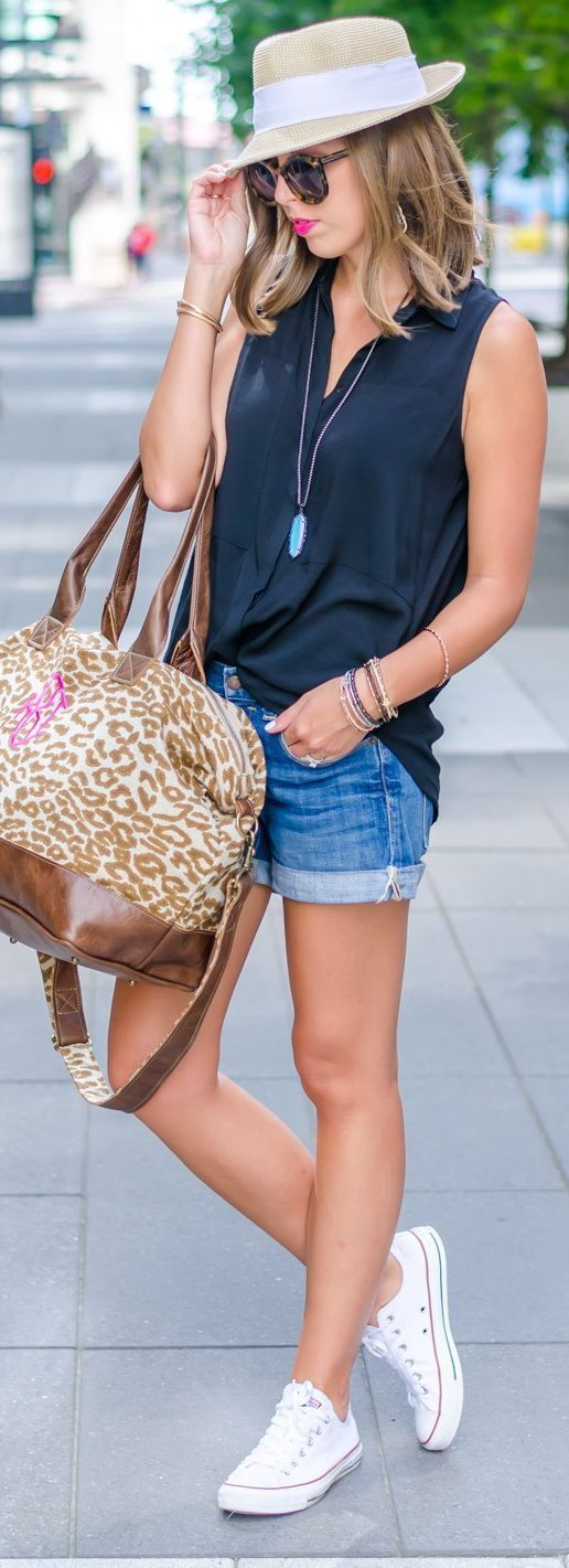 sleeveless shirt   denim shorts   sneakers