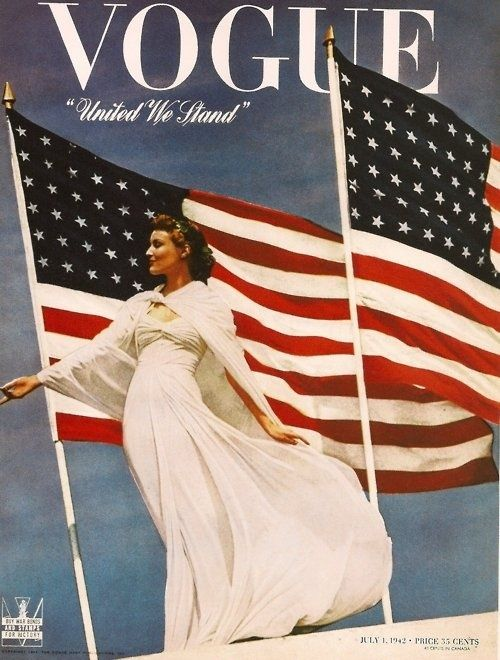"""From 4 July 1942 """"United We Stand"""" campaign, in which hundreds of magazines displayed the US flag on their covers. maybelline:    Lady America."""