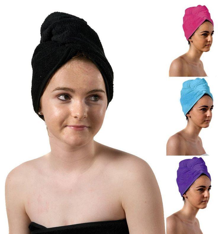 TowelsRus Luxury Hair Turban, Black, Absorbent Towel and