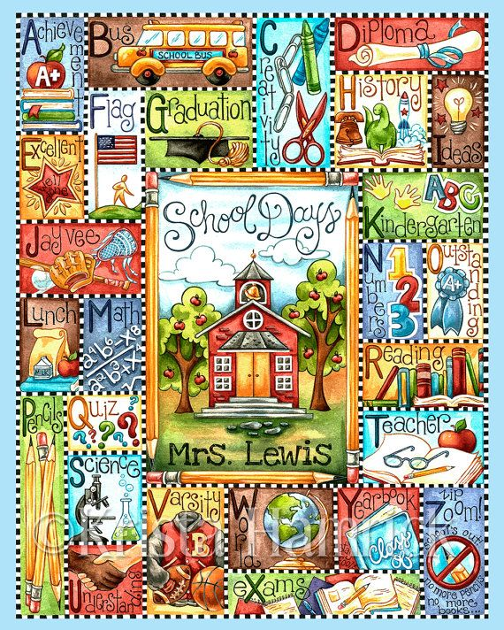 School Days Alphabet original art print 8X10 by KristaHamrick, $20.00
