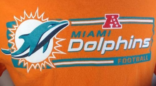 Miami Dolphins T-Shirt Large Mens NFL Football Team  AFC Conference Logos Orange