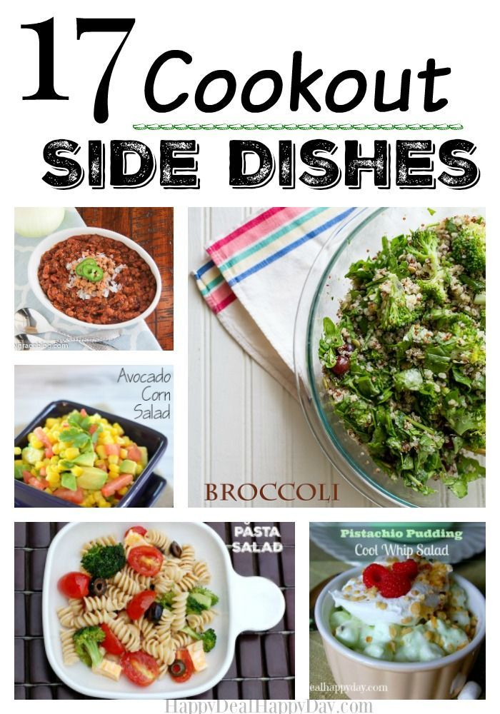 17 Cookout Side Dishes!! Use this as a quick reference for some great cookout side dishes to go with your awesome BBQ meat recipes!