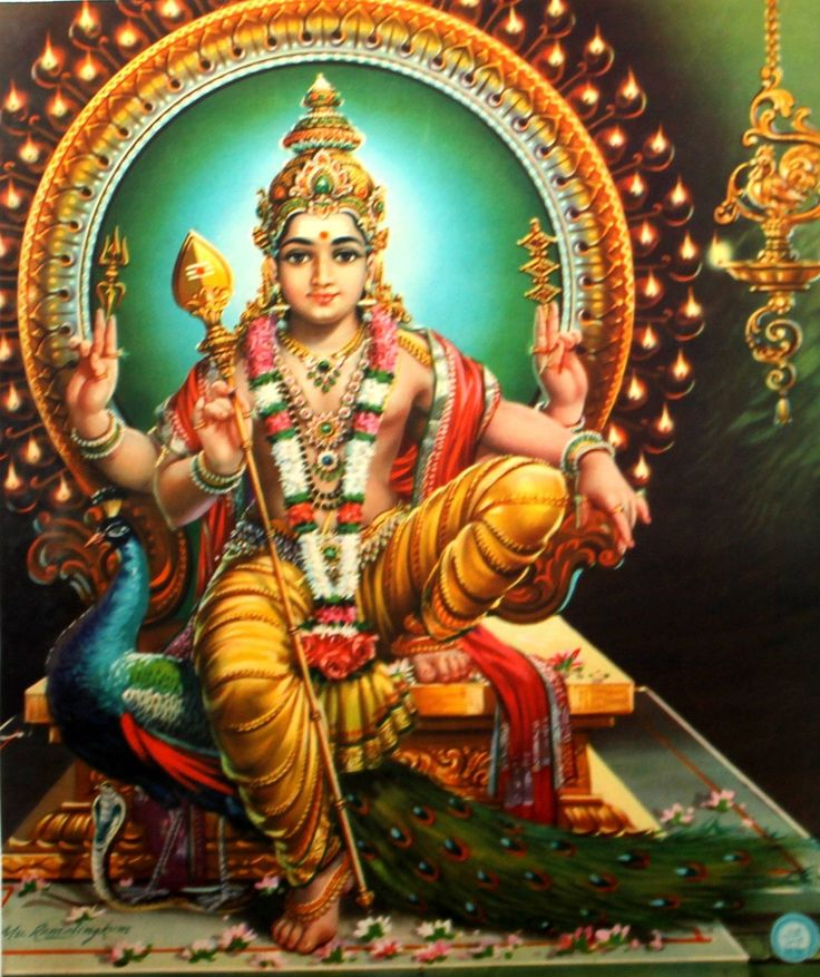 MURUGAN -  born of the fire of Shiva's anger at a demon who was oppressing the devas.