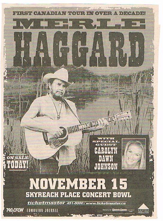 Merle Haggard Concert Poster