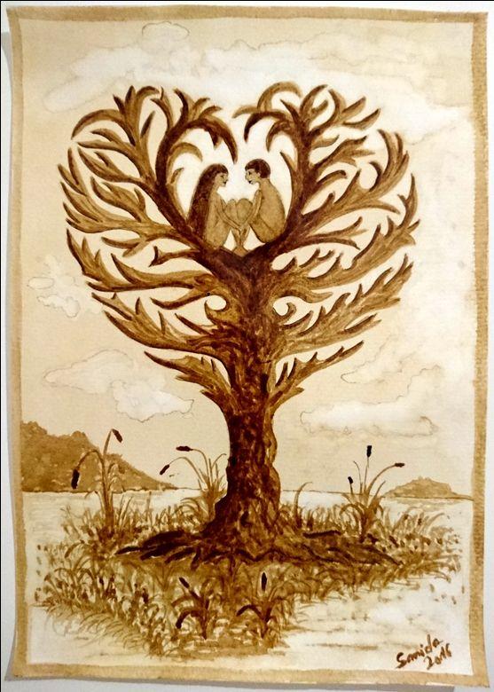 Coffee painting - Picture in picture - Szerelem fa - Love tree - Liebe Baum #kave #kavefestmeny #coffee #coffeepainting #kaffee #kaffeemalerei