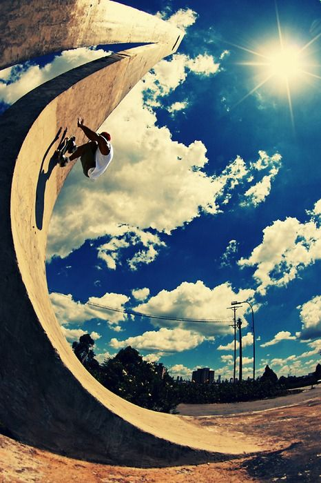 So cool. Love the leading lines in this skateboard photograph + that sky is so amazing!