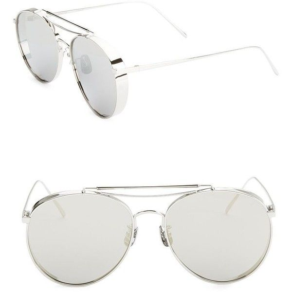 Gentle Monster 56MM Big Bully Aviator Sunglasses ($280) ❤ liked on Polyvore featuring accessories, eyewear, sunglasses, gentle monster sunglasses, grey sunglasses, gentle monster, gentle monster glasses and thin glasses