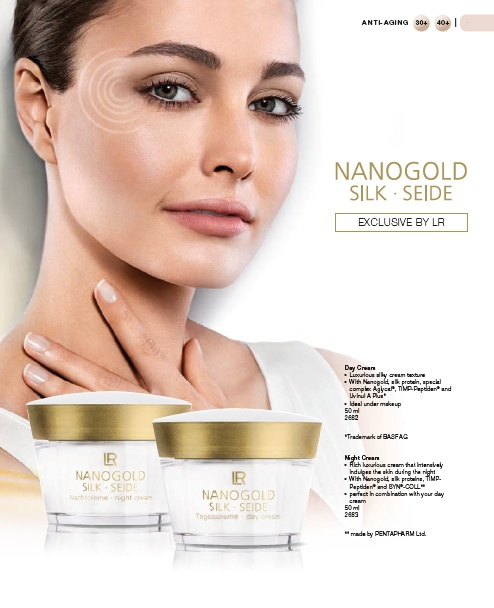 """NanoGold""  Can help assist in  the prevention of light  induced, premature aging of the skin  Together with silk proteins Nanogold builds a helpful  UVA protection. UVA rays are a major contributing  factor in light induced premature aging of the skin.  Silky-luxurious texture softly pampers the skin leaving  the skin feeling beautiful"