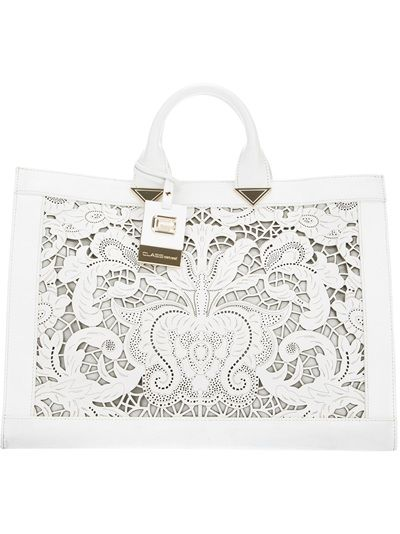 Class Roberto Cavalli Laser Cut Leather Tote