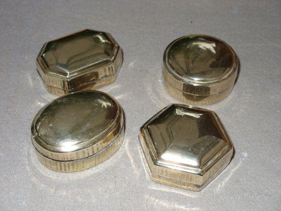 Scatole di ottone porta pastiglie - 4 pz-1970