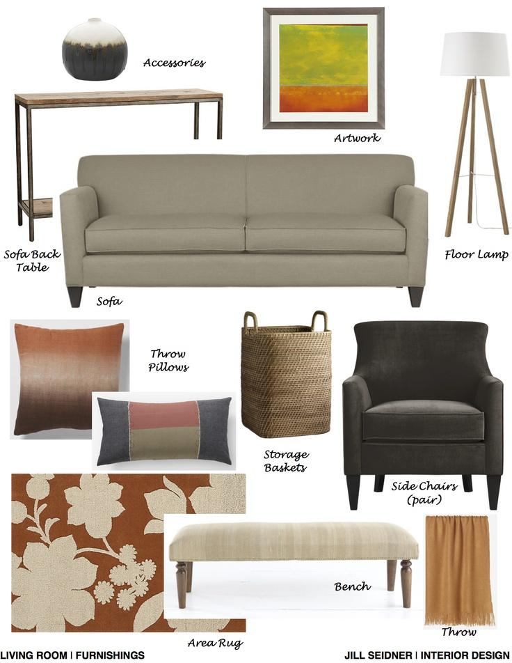 Montgomery Village MD Online Design Project Living Room Furnishings Concept Board JSInteriorDes