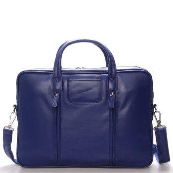 Modrá luxusní originální kožená taška přes rameno Gerard Henon. Taška je prostorná, kvalitně zpracovaná a moderně řešená. Skvěle doplní mužský business outfit. Taška je z hovězí kůže. Je větší a zavírá se na zip.