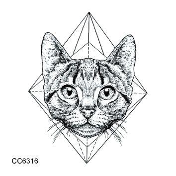 CC6316 6X6cm Little Vintage Old School Style Kidded Cat Head Temporary Tattoo Sticker Body Art Water Transfer Fake Taty