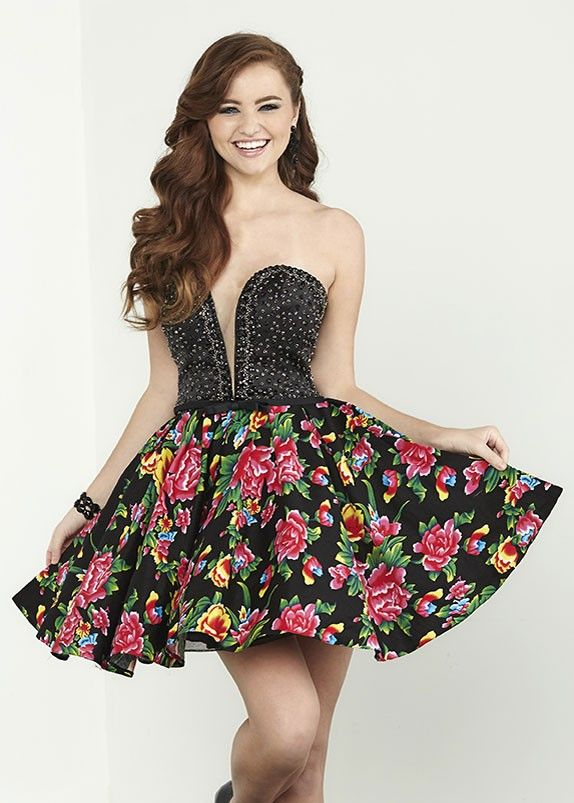 Strapless Cocktail Dress with Black Floral Print