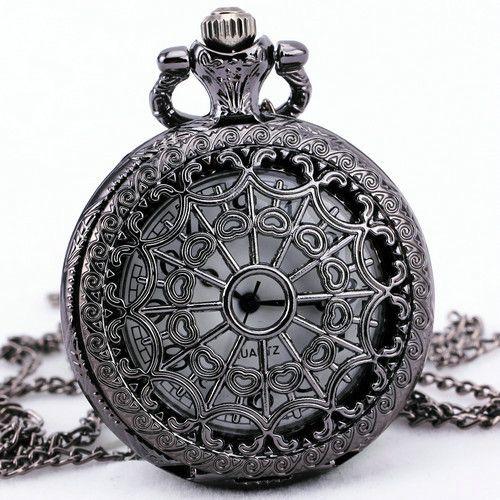 Тд унисекс старинные ретро темном-синий светло-серый кварц карманные часы ожерелье свитер + подарочная коробка
