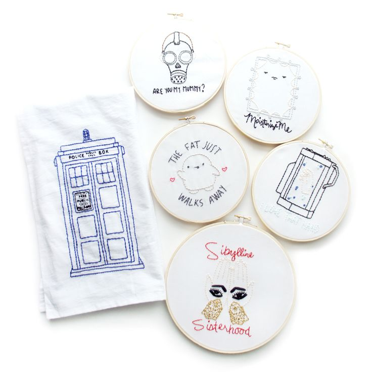 Doctor Who Embroidery Patterns • via The Pink Samurai. these would be cute to do on a canvas.