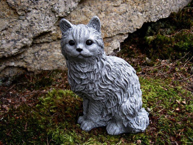 Cat statue concrete cat figure cement garden decor statues