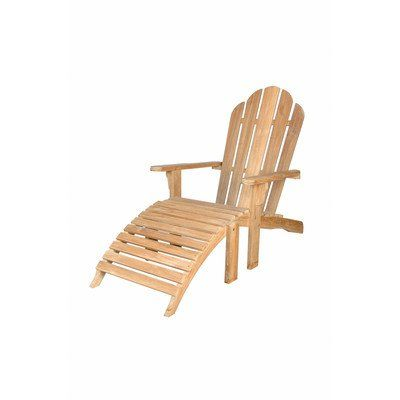 Anderson Teak Adirondack Chair With Ottoman in Natural. Finish: Natural. Material: Teak Wood. Warranty: 2 Years. Assembley Required. Deep curved seat, low flat arms.