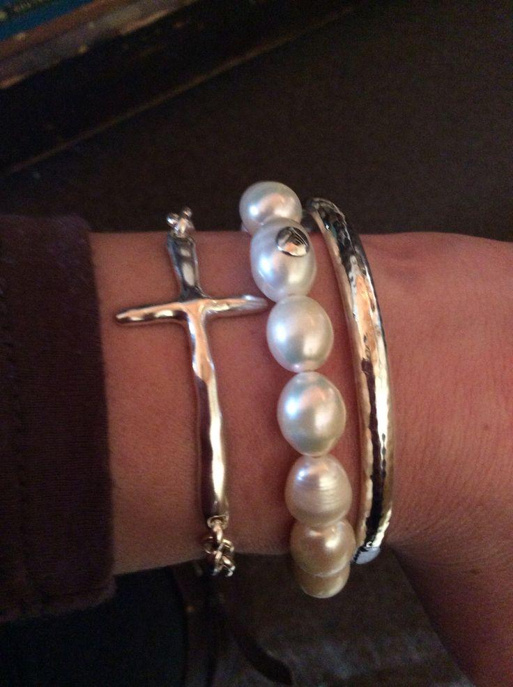 Silpada!! Love!! #cross bracelet #pearls #bangles www.mysilpada.com/kim.brow
