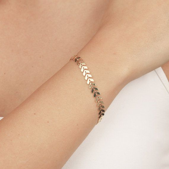 Delicate Gold Bracelet Dainty Geometric Chain Layered Everyday 24k Plated Jewelry