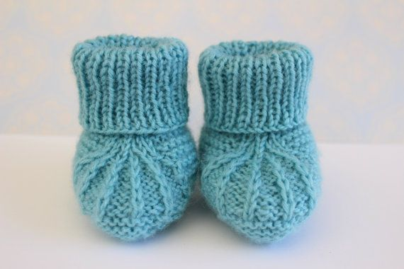 Blue Baby Booties Baby Boy Shoes Blue Baby Shoes by Pinknitting