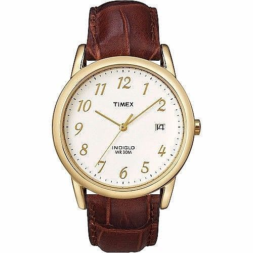 Timex Analog Easy Reader Watch & Brown Croco Pattern Leather Strap Classic New #Timex