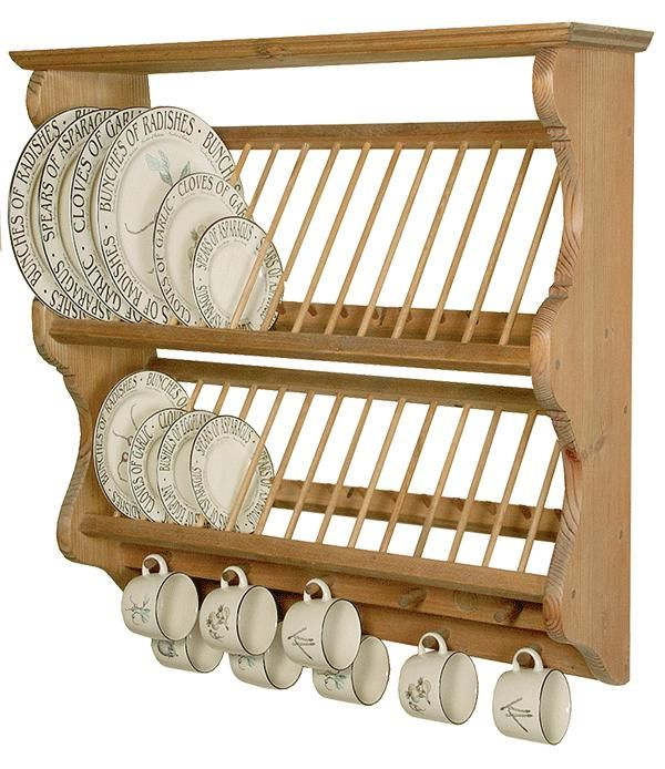 Plate rack - change so that the cups aren't hanging but have openings slotted onto pegs to drain properly