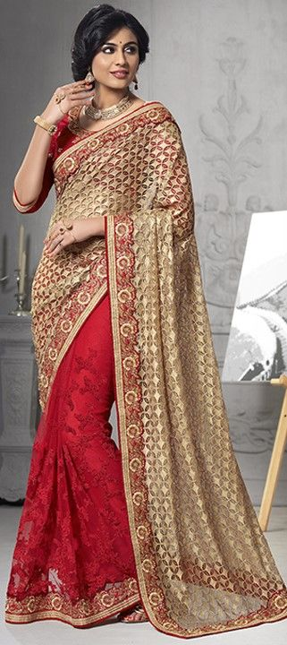 178089 Beige and Brown, Red and Maroon  color family Bridal Wedding Sarees in Net fabric with Border, Machine Embroidery, Thread work   with matching unstitched blouse.