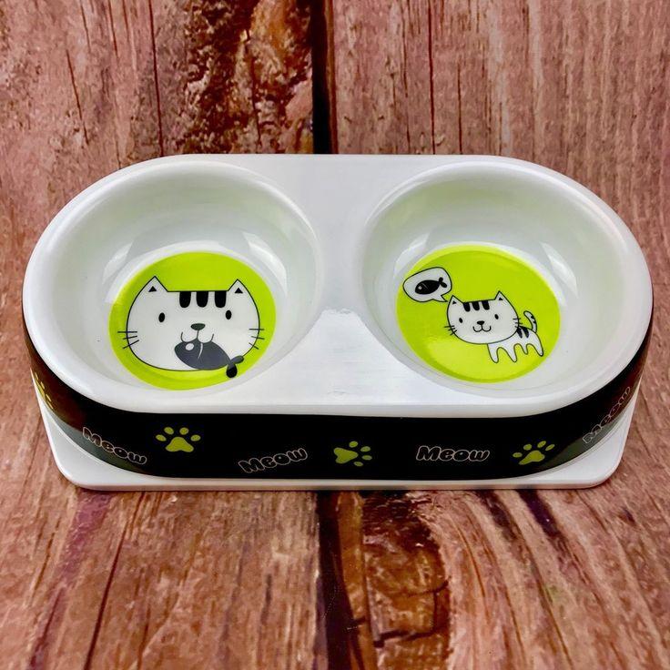 "Double dish Cat bowls wih Meow 🐱 cat fish design paw print 4"" food bowls pets"