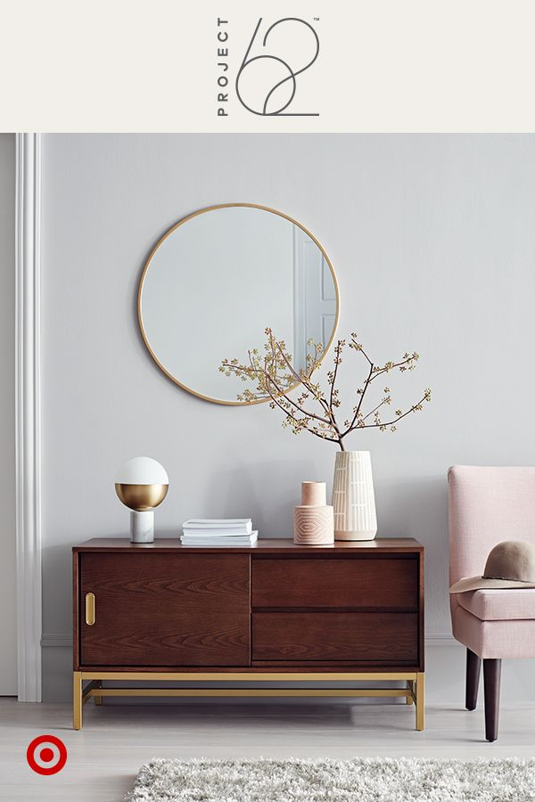 This simple credenza and armless slipper chair are designed to seamlessly fit into small spots like an entryway or small hallway for stylish, space-saving living. Our color crush of the moment? Blush. Try pairing it with rich hardwood and brass and marble accents. Project 62, only at Target