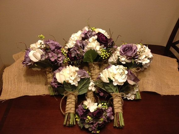 Real Touch Wedding Flower Package with Eggplant Ranunculus, Lavender Roses, Ivory Roses, Hydrangeas, Peonies and grapvine on Etsy, $736.00