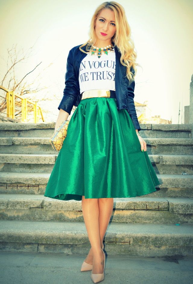 Green Midi Skirt Outfit with a Denim Jacket