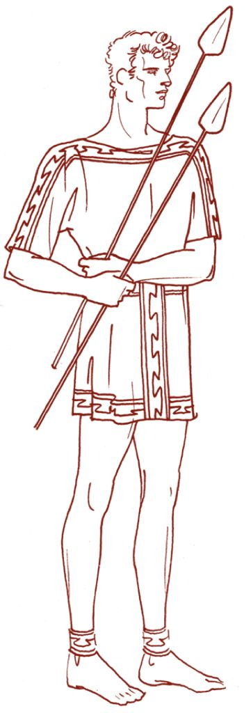 Chitoniskos is a tunic worn by men resembling the Doric peplos. It was short and fit close to the body.