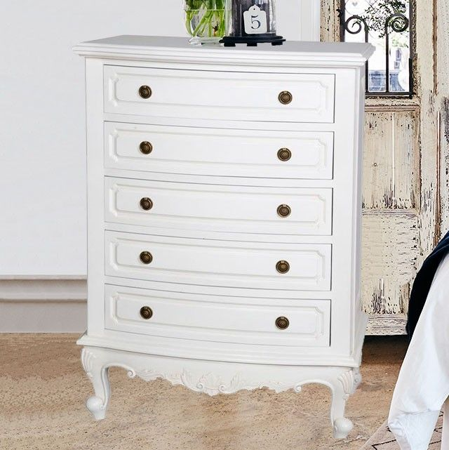 Baroque 5 Drawer Tall Boy Chest - White