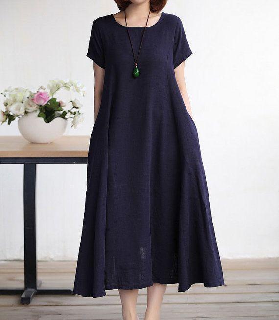 Blue linen dress by LitterGirl on Etsy, $69.00