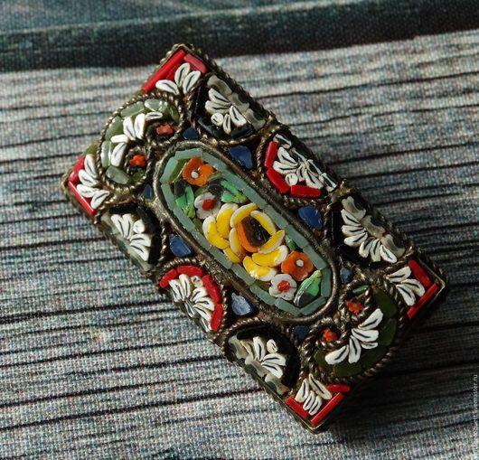 Винтажные украшения. Ярмарка Мастеров - ручная работа. Купить Винтажная брошь , микромозаика, Италия. Handmade. Комбинированный