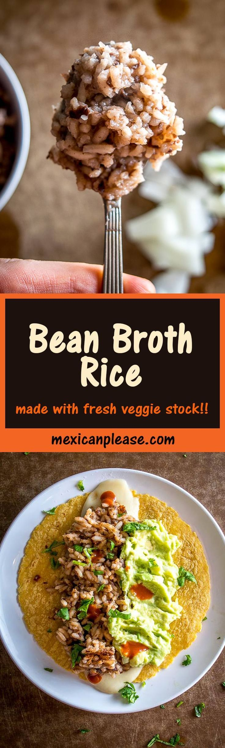 Puree beans into some stock and you've got the simmering liquid for a delicious batch of Bean Broth Rice.  I've been making cheesy guacamole tacos with it all week long!  mexicanplease.com