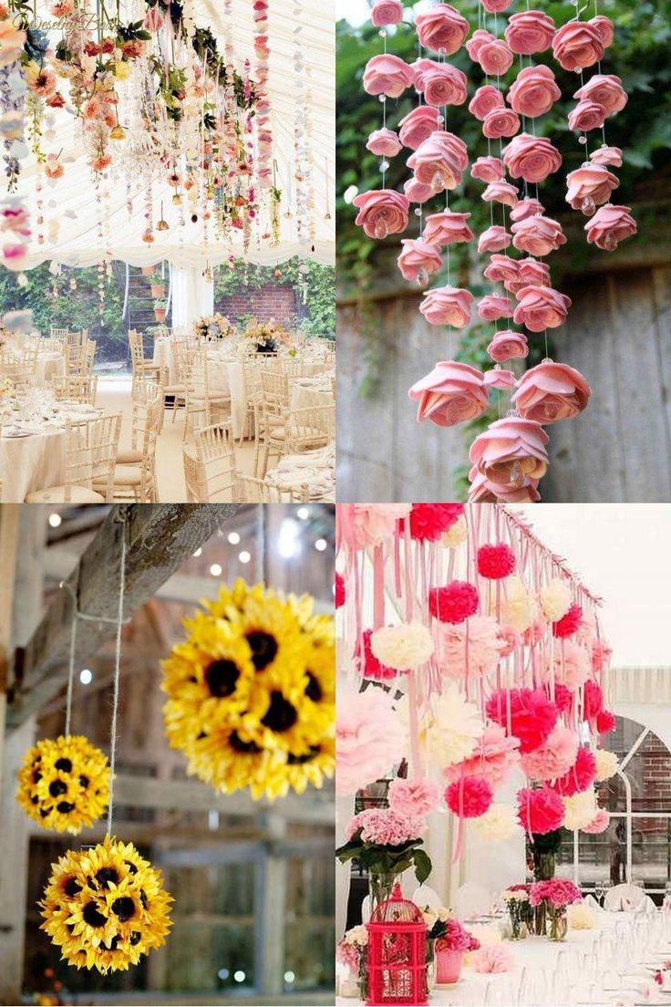 4 pomysły na dekoracje zwisające nad stołem weselnym!