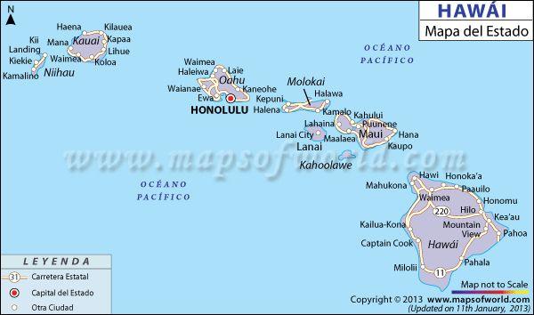 Hawái es un estado de los Estados Unidos de América, se localizado en el océano Pacifico Norte y se compone de ocho islas principales que son: Oahu, Hawái, Maui, Kaua'i, Lana'i, Moloka'i, Kaho'olawe y Ni'ihau. Tiene como capital de estado la ciudad de Honolulu.Hawái se encuentra en la parte norte del océano Pacifico, como a 3,700 kilómetros de tierra firme de Norte América. Es una cadena de 132 grandes y pequeñas islas, radiando como un collar entre las olas oceánicas.