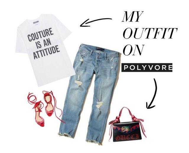 """red"" by thealine2014 on Polyvore featuring moda, Hollister Co., Moschino i Gucci"