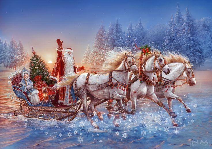 Russian three horses by Makusheva.deviantart.com on @DeviantArt