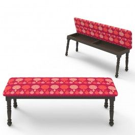 Kuheli Carved Circle Bench Cum Storage : This upholstered Kuheli Bench has a vibrant red background, on which are placed a number of small and big floral motifs. What's most amazing about this bench is that it doubles as a storage option too. A multi-purpose piece of furniture, indeed!