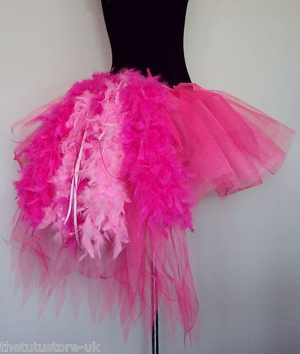 Burlesque Moulin Rouge Tutu Skirt Pink Bustle Feathers s M L XL Longer Length   eBay RollerCon Flamingo Costume