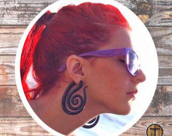 Растяжки-обманки спирали: фиолетовая зебра серьги с от JaneDread
