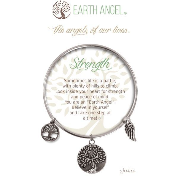 """Strength - Earth Angel Bangle - Silver - Earth Angels is a beautiful line of expandable charm bracelets created to thank, recognize and celebrate all the """"Earth Angels"""" who have positively impacted our lives. Each bangle comes in an gift box making it the perfect gift for your """"angel""""."""