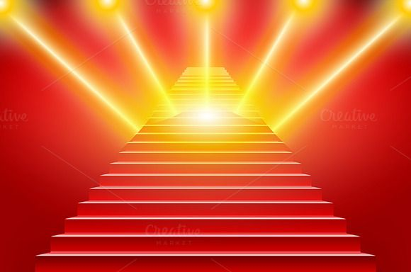 Stairs covered red carpet vector by Rommeo79 on @creativemarket