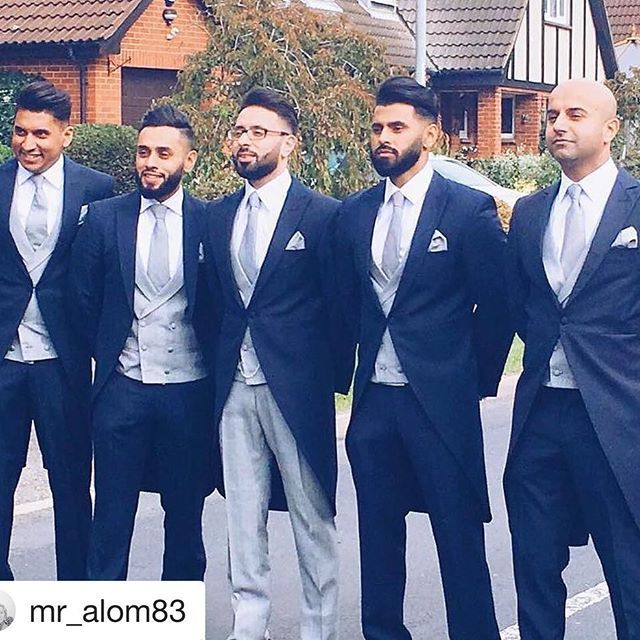 Mr Shah and his groomsmen looking exceptional in our slim fit navy tails. The groom is wearing our prince of Wales check trousers and waistcoat. From- @mr_alom83  Groom & his extraordinary Groomsmen. #anthonyformalwear #suithire #essexsuit #suithireessex #morningsuit #weddingsuit #groomsmen #usher #billericay #essex #princeofwales #weddingstyle #groomstyle #tails #slimfit  #groomstyle #dapper #dappergroom