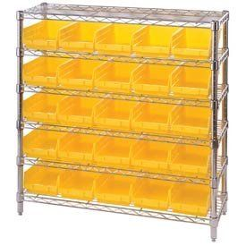 """12x36x36 Chrome Wire Shelving With 25 4""""H Shelf Bins Yellow by QUANTUM STORAGE SYS. $196.00. CHROME WIRE SHELVING WITH 4 INCH HIGH SHELF BINS 12""""D x 36H Shelving with 25 Shelf Bins Attractive chrome wire shelving includes shelf bins with hopper front opening designed for easy shelf access. Chrome wire steel shelving offers an attractive appearance thats ideal for retail and display applications. Heavy duty chrome wire shelving offers 800 lb. shelf capacity. Chrome wire sh..."""